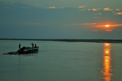 brahmaputra river assam india northeast sunset sail