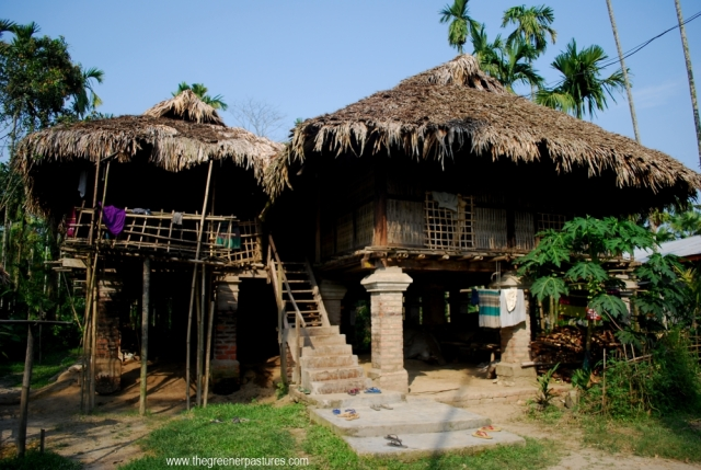 Tai Phake Tribe house in Tipam, Assam, North East India.