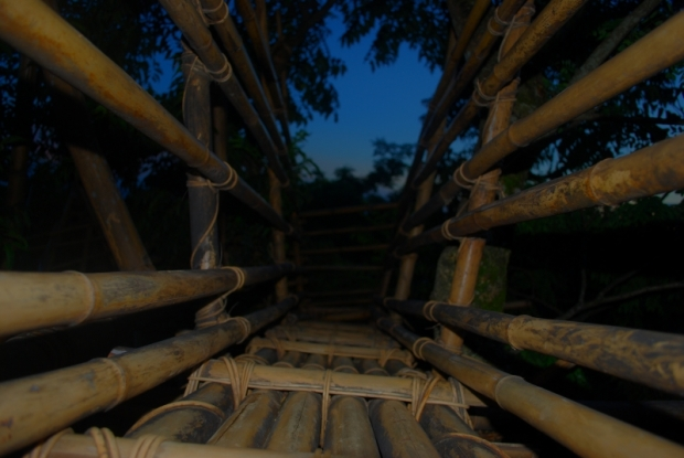 Bamboo stairs leading to the top of the Sky-View.