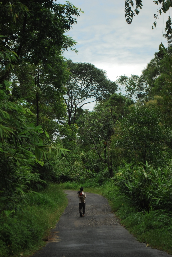Man walks home after a day at work - in Mawlynnong.