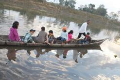 Children on a little boat ride