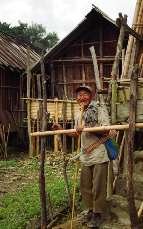Cheerful old man in Dong Village, an UNESCO certified heritage site.