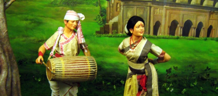 An illustration of the traditional Bihu Dance of Assam, at the Guwahati Museum.
