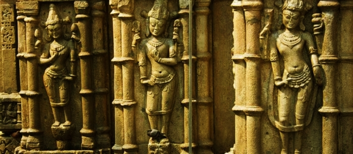 Hindu mythological sculptures at the Kamakhya Mandir.