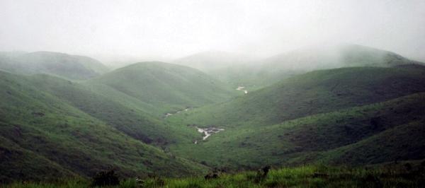 Rolling hills around Cherrapunji. (monsoon season)