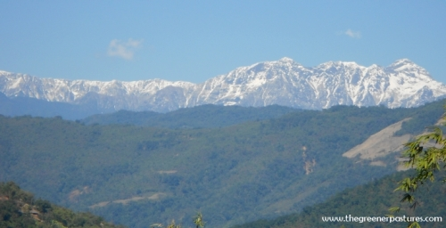 Winter snow seen from the Siang Valley, Arunachal Pradesh