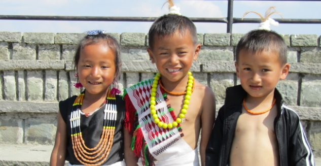 Children in ethnic dress, Angami Tribe, Touphema, Nagaland
