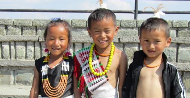 Children in ethnic dress, Angami Tribe, Touphema, Nagaland