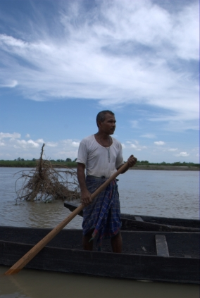 Jadav Payeng in his boat, Assam, Brahmaputra River