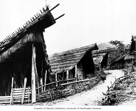 Chang Naga dormitories for unmarried men called Morung, Tuensang District, India, ca. 1954