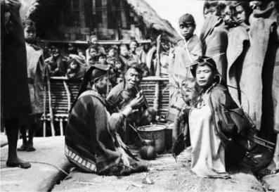 Apatani priests performing sacrificial rites during Murung Festival. Date: 1944-45 Christopher Van Furer-Haimendorf