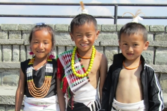 Angami children during Sekrenyi Festival, Nagaland
