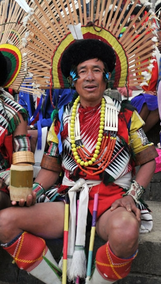 Angami tribal man during Hornbill Festival, Nagaland.