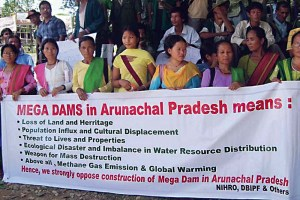 Rally against mega dams in Arunachal Pradesh