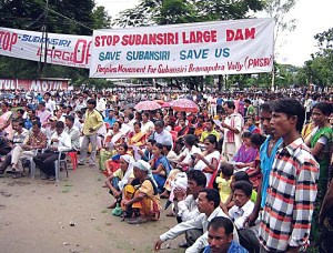 Protest in Assam against Subansiri Dam projects