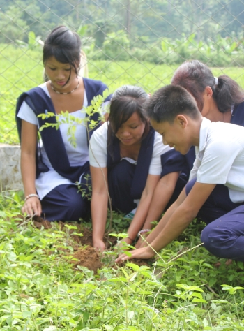 Tree planting on the occasion of World Tourism Day 2015 with village children of Namdapha National Park, Arunachal Pradesh