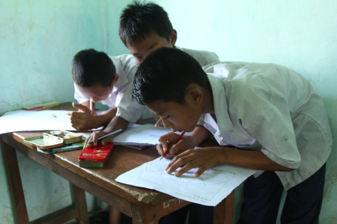 Village children of Namdapha National Park participating in a paiting competition