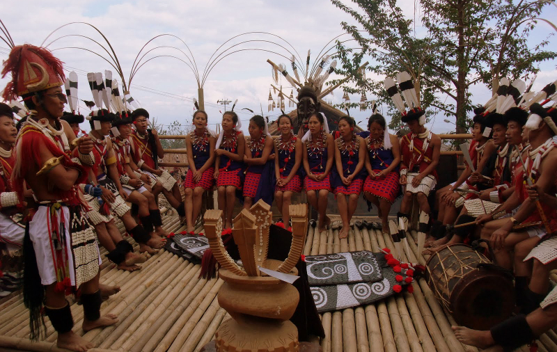 Tribal gathering at the Hornbill Festival in Kohima, Nagaland