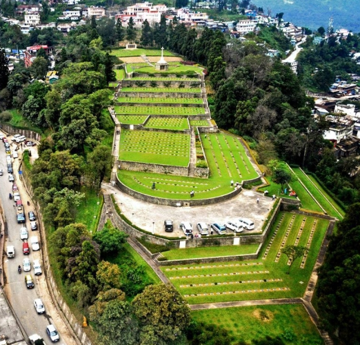 Aerial view of World War 2 Memorial at Kohima, Nagaland