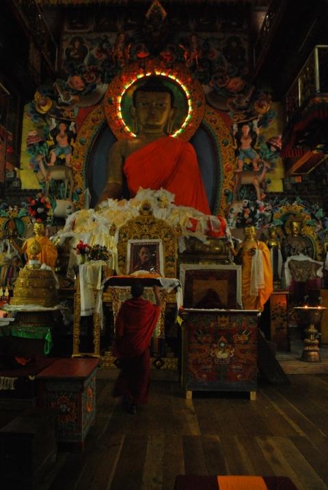 Monk inside Tawang Monastery, Arunachal Pradesh