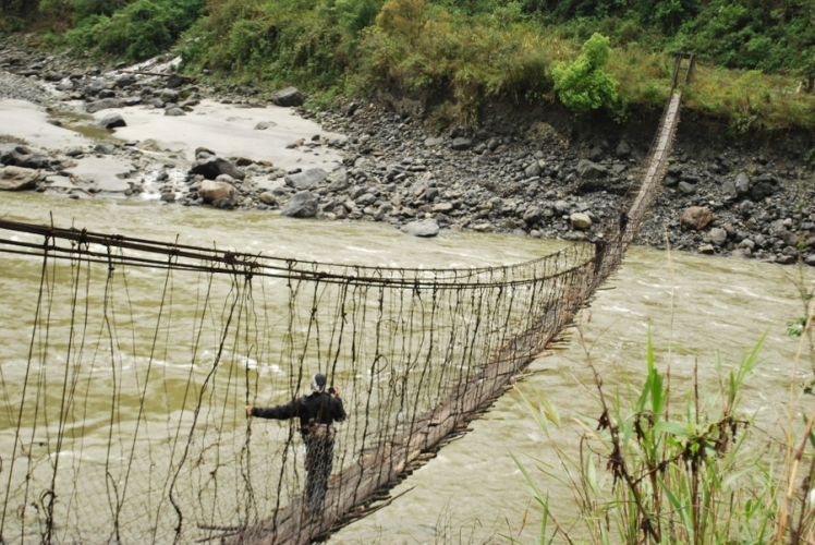 Crossing Hanging Bridge on the Lohit River in Lohit District | Arunachal Pradesh Trek