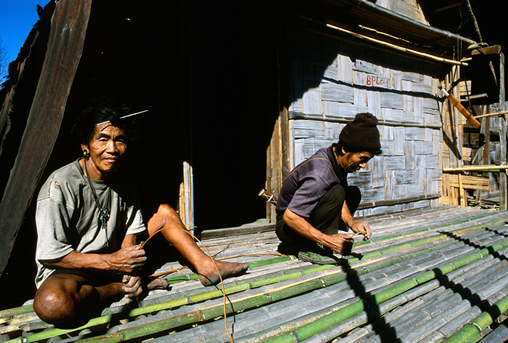 Apatani Tribesmen Working with Bamboo in Ziro Valley of Arunachal Pradesh, India.