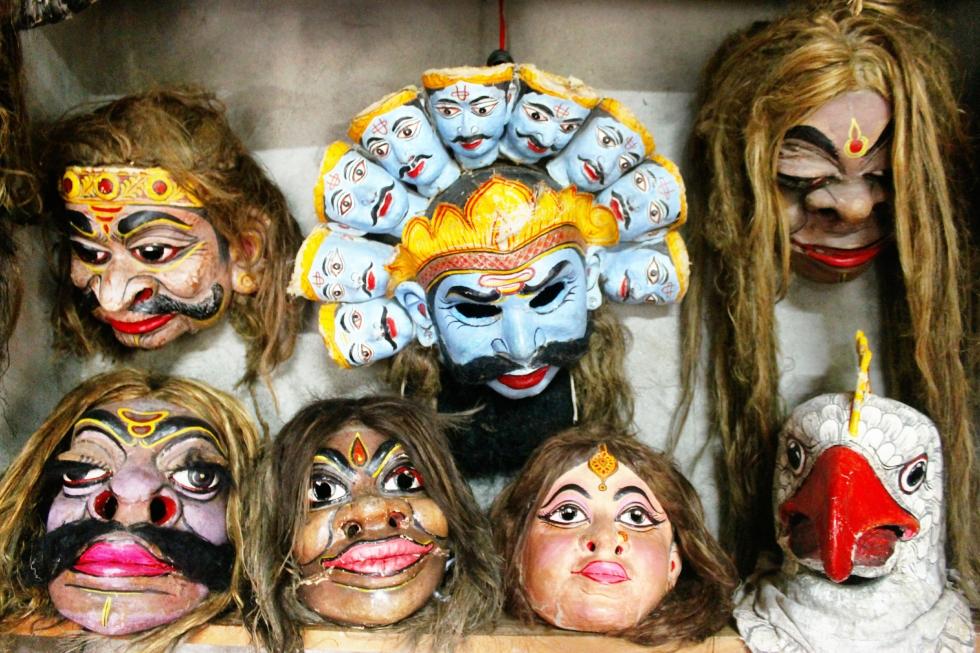 Hinduism Mythology Masks in Mask Making Center, Majuli Island, Assam, India