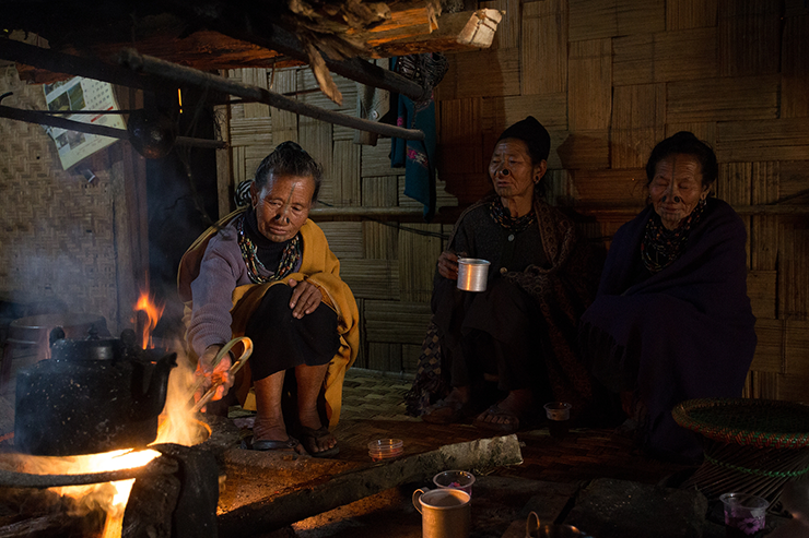 Apatani Women in a Homestay in Ziro, Arunachal Pradesh